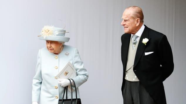 Queen Elizabeth II and Prince Philip, Duke of Edinburgh St. George's Chapel Windsor Eugenie Wedding