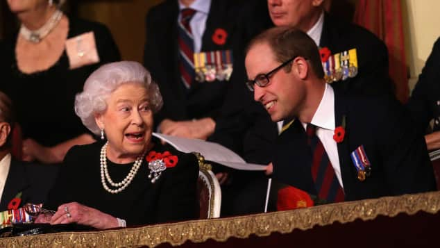 Queen Elizabeth and Prince William  in the Royal Box at the Royal Albert Hall