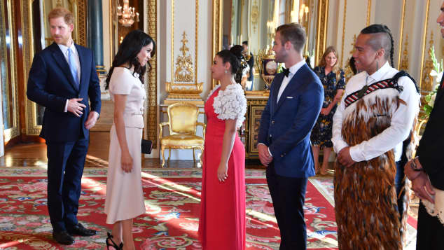 Prince Harry and Meghan, Duke and Duchess of Sussex meet a group of the Queen's Young Leaders
