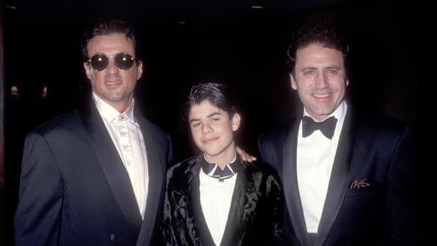 Sylvester Stallone, Sage, Stallone and Frank Stallone at a benefit in 1991.