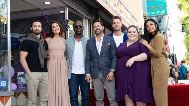 Milo Ventimiglia, Mandy Moore, Sterling K. Brown, Jon Huertas, Justin Hartley, Chrissy Metz, and Susan Kelechi Watson attend a ceremony honoring Mandy Moore with a star on The Hollywood Walk of Fame