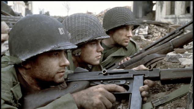 Tom Hanks, Matt Damon and Edward Burns in the 1998 movie Saving Private Ryan.
