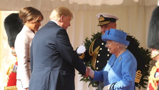 The Queen greets the President of the United States, Donald Trump and First Lady, Melania Trump at Windsor Castle
