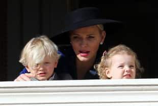 Princess Charlene of Monaco with Prince Jacques and Princess Gabriella