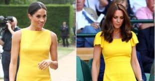 Herzogin Meghan und Herzogin Kate in einem gelben Kleid, Herzogin Meghan, Herzogin Kate, Herzogin Kate und Meghan im Stylevergleich