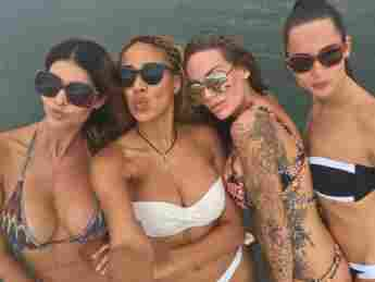 Micaela Schäfer, Sarah Joelle Jahnel, Gina-Lisa Lohfink, Nicole Mieth Australien Bikini Hot heiß Fotos Party Dschungelcamp Dschungel Dschungelcamperinnen