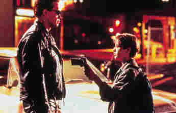 "Arnold Schwarzenegger und Edward Furlong in ""Terminator"""