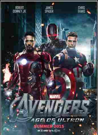 """Avengers: Age of Ultron""-Filmplakat mit Chris Evans und Robert Downey Jr."