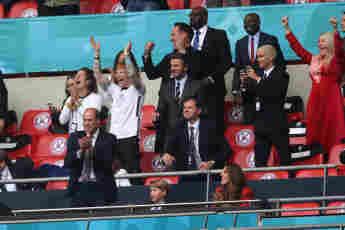 Prinz William, Prinz George, Herzogin Kate, Ed Sheeran, Cherry Seaborn, David Beckham, Romeo Beckham, Ellie Goulding beim Spiel England gegen Deutschland bei der EM 2021 am 29. Juni 2021
