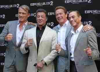 the expendables Dolph Lundgren, Sylvester Stallone, Arnold Schwarzenegger, Jean-Claude Van Damme