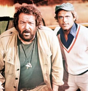 """Bud Spencer und Terence Hill in """"Das Krokodil und sein Nilpferd""""."""