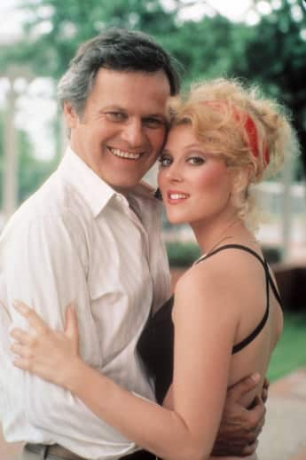 "Audrey Landers and Ken Kercheval as ""Afton Cooper"" and ""Cliff Barnes"" in ""Dallas"""