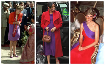 Princess Diana and Duchess Meghan both know how to wear bold colours!