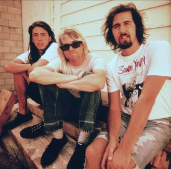 David Grohl, Kurt Cobain und Kris Novoselik Nirvana, 15. April 1987