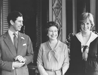 Prince Charles, Queen Elizabeth II and Lady Diana
