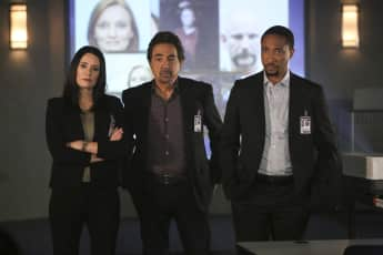 "Paget Brewster, Joe Mantegna and Damon Gupton in ""Criminal Minds"""
