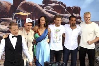 """Sechs von acht """"Global Gladiators""""-Teilnehmern: Oliver Pocher, Pietro Lombardi, Lilly Becker, Raul Richter,  Ulf Kirsten und Mario Galla"""