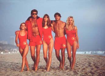 """Baywatch"": Kelly Packard, David Hasselhoff, Alexandra Paul, Jeremy Jackson, Pamela Anderson"