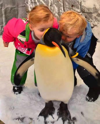 Charlene von Monacos Kinder Jacques und Gabriella kuscheln mit einem Pinguin, Prinz Jacques von Monaco, Prinzessin Gabriella von Monaco