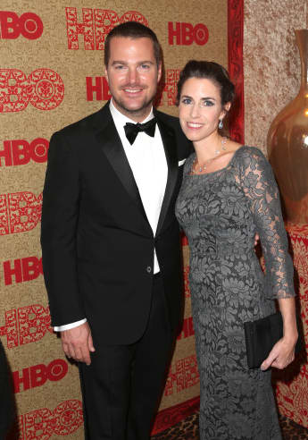 Chris O'Donnell and Caroline Fentress at the 2014 HBO Golden Globes party.