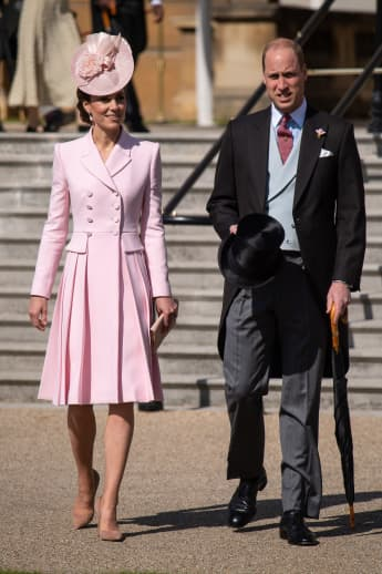 The Duchess and Duke of Cambridge attending the Royal Garden Party at Buckingham Palace on May 21, 2019.
