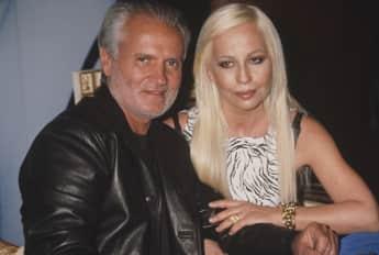 """Gianni und Donatella Versace bei der Vorstellung ihres neuen Dufts """"Versace's Blonde"""" 1996 in den USA"""