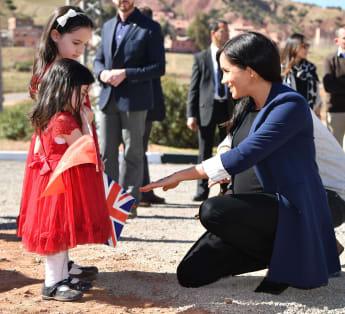 Prince Harry and Duchess Meghan meet Rania and Rayhana Minijam in Asni, Morocco