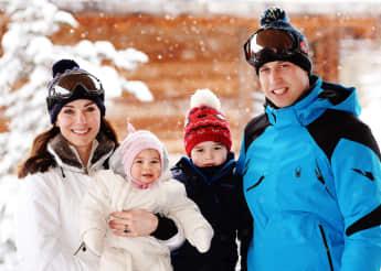 Herzogin Kate, Prinzessin Charlotte, Prinz George und Prinz William in den französischen Alpen 2016