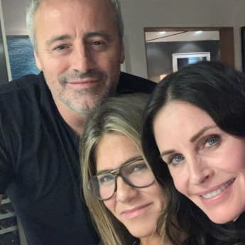 friends matt leblanc, courteney cox und jennifer aniston