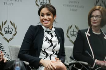 Former Australian Prime Minister Julia Gillard and Duchess Meghan attend a panel discussion to mark International Women's Day