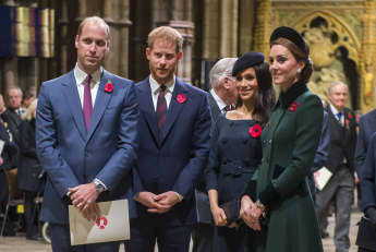 The Dukes of Cambridge and Sussex with their wives Meghan and Catherine at the Remembrance Day service in the fall of 2018.