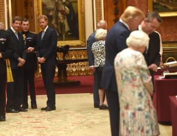 Prinz Harry, Donald Trump und Königin Elisabeth II.