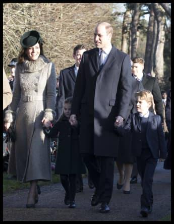 Herzogin Kate und Prinz William mit ihren Kindern beim Weihnachtsgottesdienst