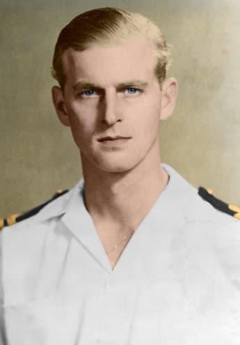 Der Herzog von Edinburgh als Kommandeur der Fregatte HMS Elster 1951 Farbfoto, Malta