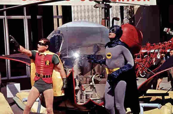 """Schauspieler Adam West und Burt Ward in  """"Batman hält die Welt in Atem"""""""