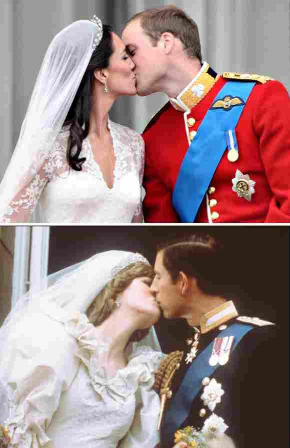 Lady Diana und Prinz Charles (1981) und Herzogin Kate und Prinz William (2012)