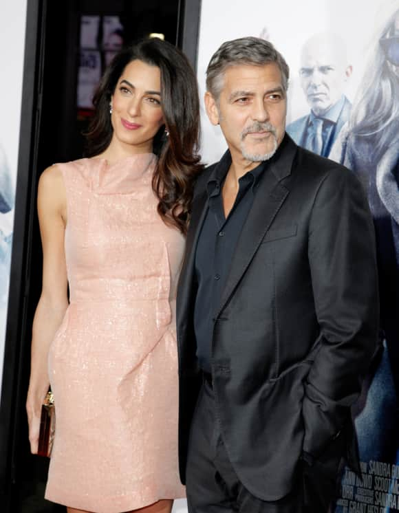 "Amal and George Clooney at the ""Our Brand Is Crisis"" premiere"