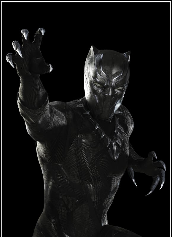 """""""Black Panther"""", known by his subjects as King """"T'Challa"""", is played by Chadwick Boseman."""