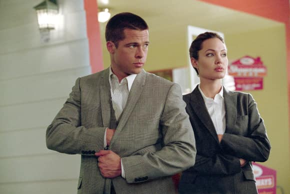 Brad Pitt and Angelina Jolie in Mr. & Mrs. Smith