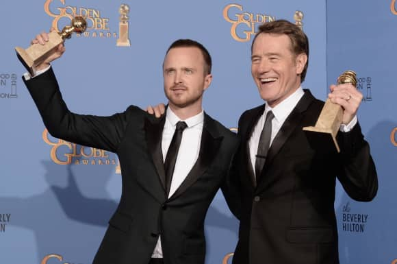 Bryan Cranston and Aaron Paul at the Golden Globes back in 2014