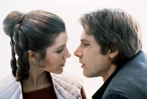 "Carrie Fisher as ""Princess Leia"" and Harrison Ford as ""Han Solo"""