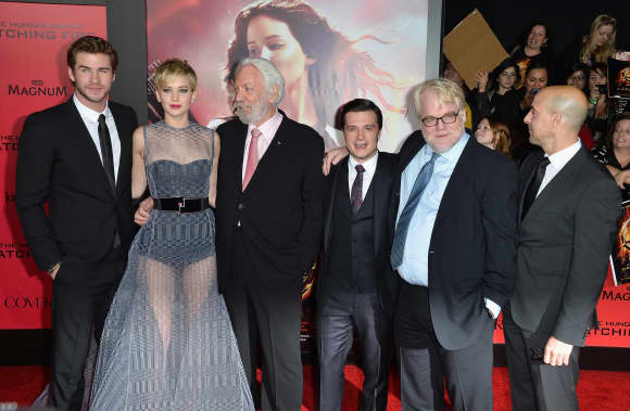 Philip Seymour Hoffman at the Catching Fire premiere