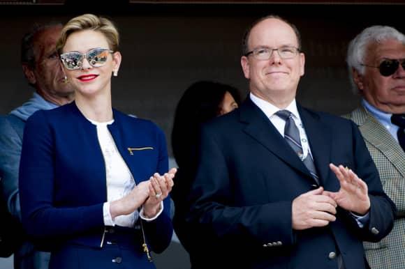 Princess Charlene of Monaco and Prince Albert in Blue