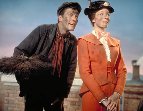"Dick van Dyke and Julie Andrews in ""Mary Poppins"""