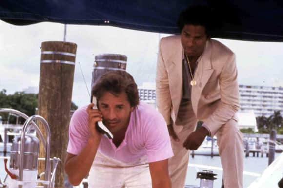 "Don Johnson and Philip Michael Thomas in ""Miami Vice"""