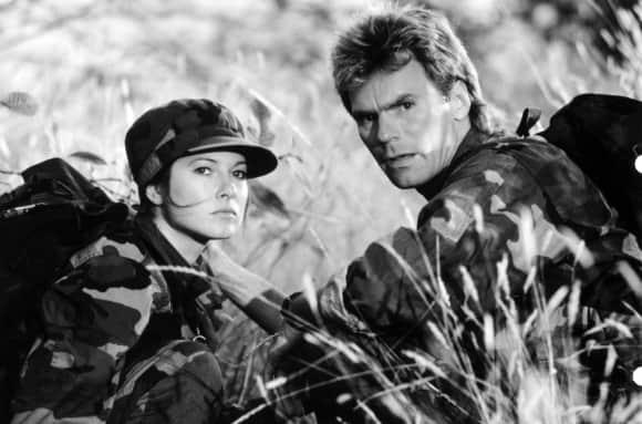 """Elyssa Davalos and Richard Dean Anderson in """"MacGyver"""""""