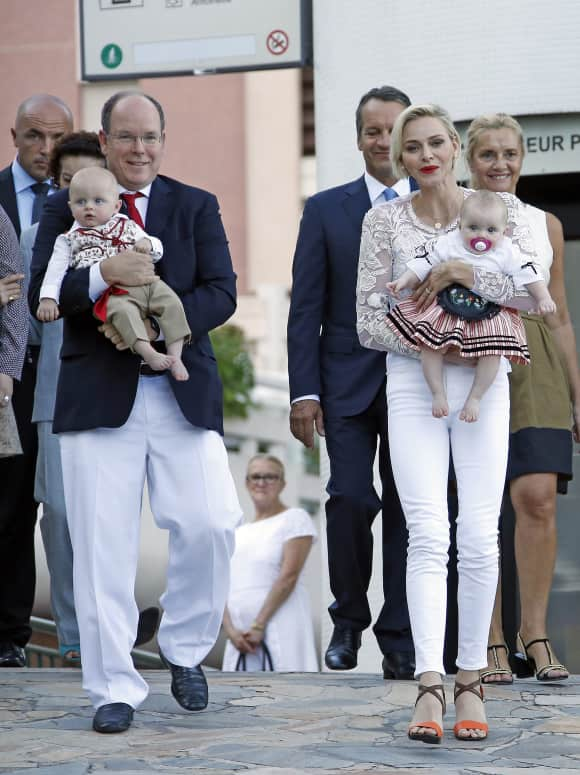 Princess Charlene of Monaco and Prince Albert with the twins Jaques and Gabriella