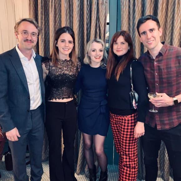 Tom Felton, Emma Watson,  Evanna Lynch, Bonnie Wright und Matthew Lewis feiern eine Harry Potter-Reunion