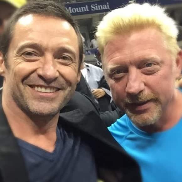 Hugh Jackman und Boris Becker gemeinsam bie den US Open