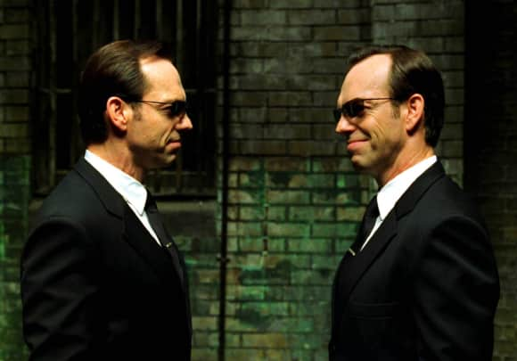 """Hugo Weaving playing the role of """"Agent Smith"""" in """"The Matrix"""""""